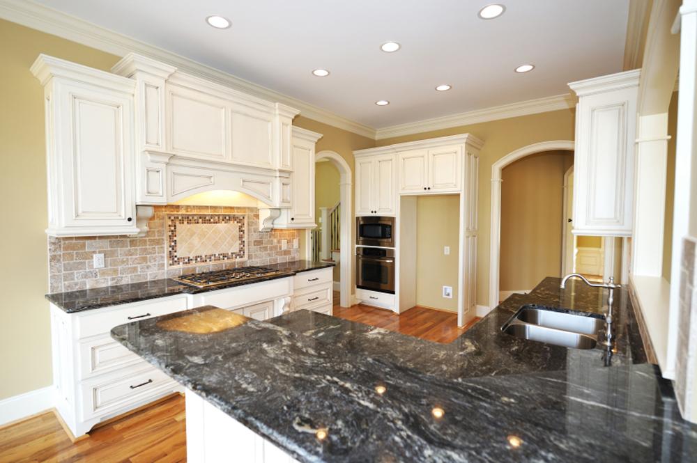 Black Granite Kitchen White Cabinets   Columbus Ohio