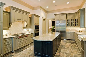 Granite kitchen green cabinets - Columbus Ohio GS Marble Ohio